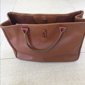 Longchamp Roseau leather tote in brown w toggle